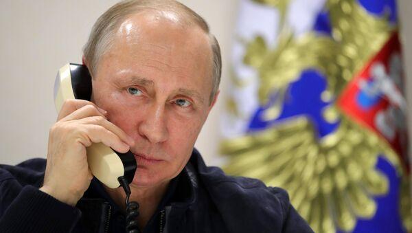 Rəcəb Tayyib Ərdoğan və Vladimir Putin telefonla danışarkən - Sputnik Azərbaycan