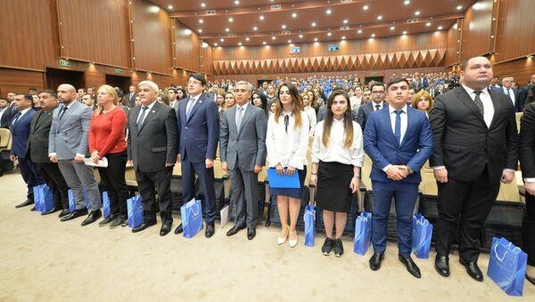Первая конференция Общественного объединения Региональное развитие Фонда Гейдара Алиева, город Сабирабад, 27 октября 2017 года - Sputnik Азербайджан