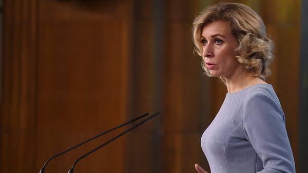 Официальный представитель министерства иностранных дел России Мария Захарова во время брифинга в Москве, 28 сентября 2017 года - Sputnik Азербайджан