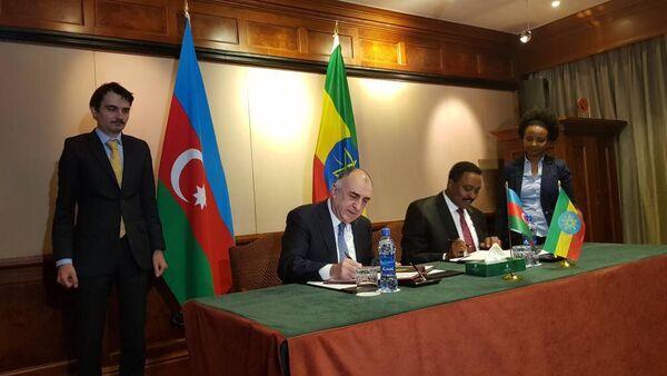 Министр иностранных дел Эльмар Мамедъяров встретился с министром иностранных дел Воркене Гебджуем - Sputnik Азербайджан