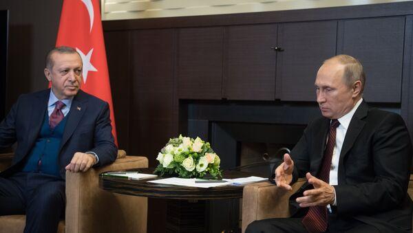 Президент РФ Владимир Путин и президент Турции Реджеп Тайип Эрдоган во время встречи, Сочи, 13 ноября 2017 года - Sputnik Азербайджан