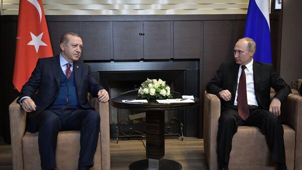 Президент РФ Владимир Путин и президент Турции Реджеп Тайип Эрдоган во время встречи, 13 ноября 2017 года - Sputnik Азербайджан