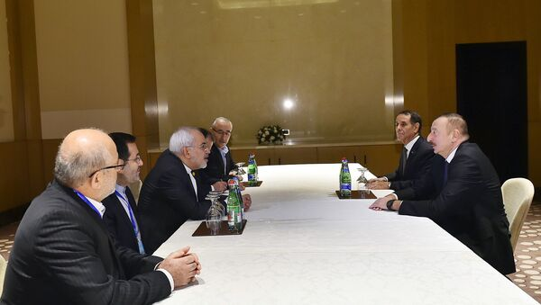Президент Ильхам Алиев на встрече с главой МИД Ирана Мохаммадом Джавадом Зарифом - Sputnik Азербайджан