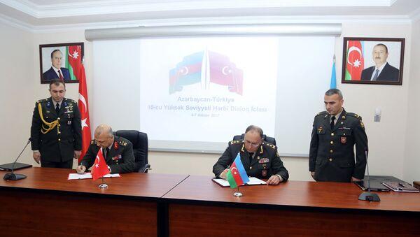 Подписан Протокол 10-го Заседания Азербайджано-Турецкого Военного Диалога на Высшем Уровне - Sputnik Азербайджан