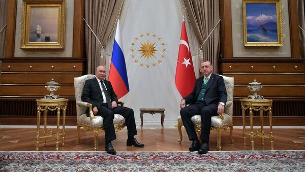 Президент РФ Владимир Путин и президент Турции Реджеп Тайип Эрдоган во время встречи, 11 декабря 2017 года - Sputnik Азербайджан