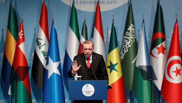 Выступление президента Турции Реджепа Тайипа Эрдогана на внеочередном саммите Организации исламского сотрудничества в Стамбуле, 13 декабря 2017 года - Sputnik Азербайджан