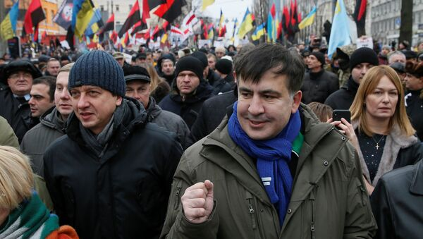 Бывший президент Грузии Михаил Саакашвили во время акции протеста в Киеве, Украина, 17 декабря 2017 года - Sputnik Азербайджан