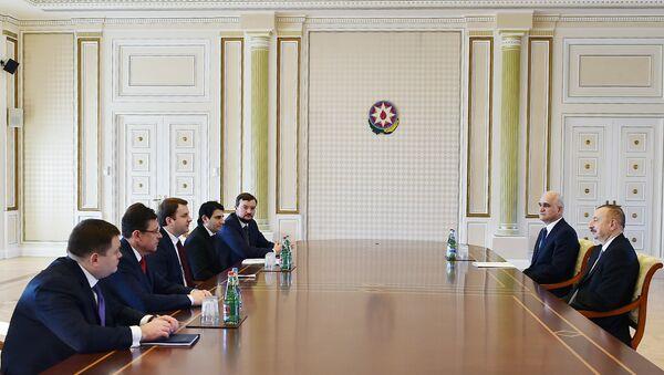 Президент Ильхам Алиев принял делегацию во главе с министром экономического развития России Максимом Орешкиным - Sputnik Азербайджан