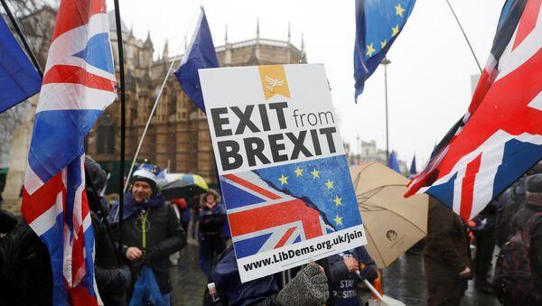 Демонстрации против выхода Великобритании из ЕС, Лондон, 11 декабря 2017 года - Sputnik Азербайджан