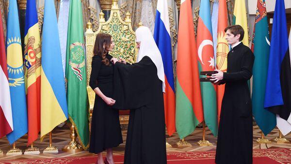 Церемония награждения первого вице-президента Азербайджана Мехрибан Алиевой орденом святой равноапостольной княгини Ольги II степени - Sputnik Азербайджан