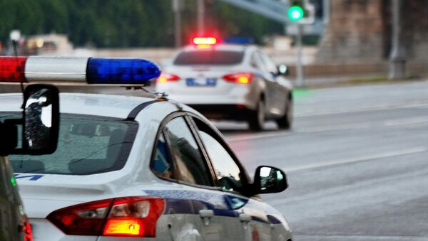 Автомобили полиции на улице Москвы, фото из архива - Sputnik Азербайджан