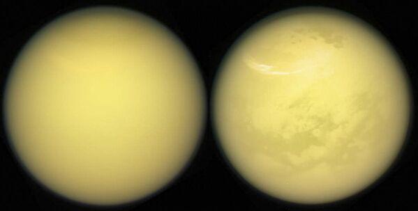 Изображение Титана, спутника Сатурна, сделанное космическим аппаратом НАСА Кассини - Sputnik Азербайджан