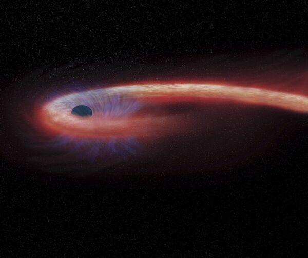 Художественное изображение черной дыры в созвездии Девы, поглощающей рекордные количества материи - Sputnik Азербайджан