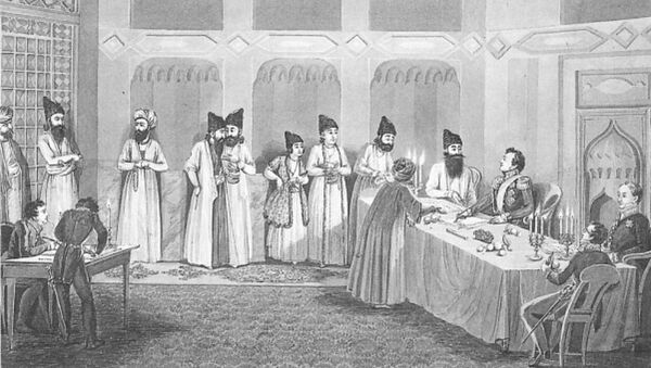 Türkmənçay müqaviləsinin imzalanma mərasimi, rəssam  Vladimir Moshkov - Sputnik Azərbaycan