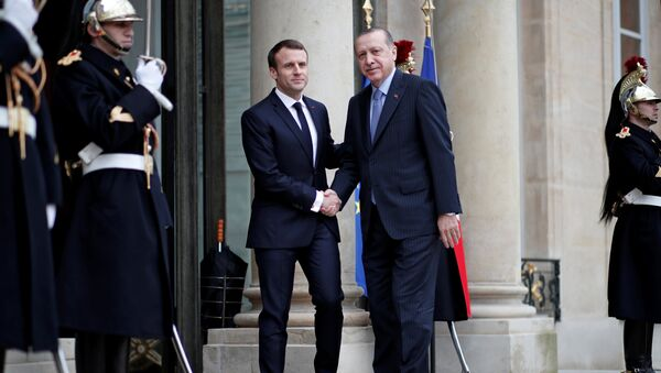Rəcəb Tayyib Ərdoğan və Emmanuel Makron, Paris, 5 dekabr 2017-ci il - Sputnik Azərbaycan