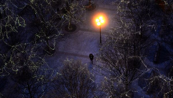 Мужчина идет по парку, украшенному к Новому году - Sputnik Азербайджан