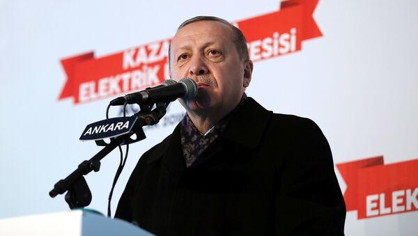 Президент Турции Реджеп Тайип Эрдоган во время выступления в Анкаре, 15 января 2018 года - Sputnik Азербайджан