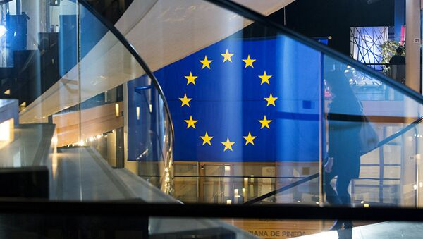 Флаг ЕС в здании Европарламента, фото из архива - Sputnik Азербайджан