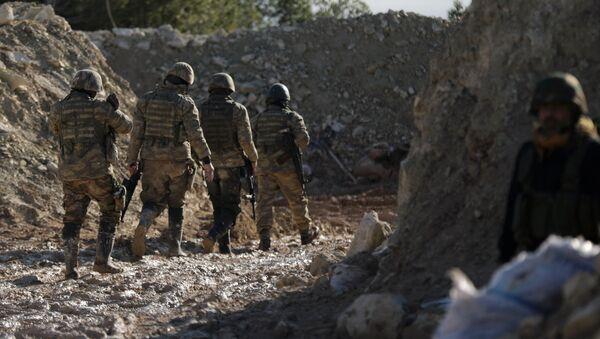 Поддерживаемые Турцией бойцы сирийской армии  на горе Барсая, к северо-востоку от Африна, Сирия 28 января 2012 года - Sputnik Азербайджан