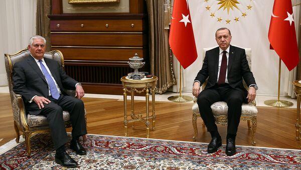 Türkiyə prezidenti Rəcəb Tayyib Ərdoğan və ABŞ dövlət katibi Reks Tillerson - Sputnik Azərbaycan