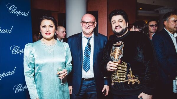 Анна Нетребко, Сталик Ханкишиев и Юсиф Эйвазов, Москва, 2 февраля 2018 года - Sputnik Азербайджан