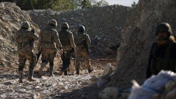 Поддерживаемые Турцией бойцы сирийской армии на горе Барсая, к северо-востоку от Африна, Сирия 28 января 2018 года - Sputnik Азербайджан