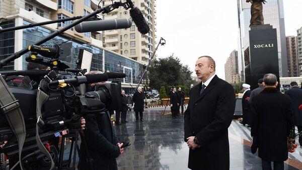 Президент Азербайджана Ильхам Алиев в ходе интервью телеканалу Россия-24 - Sputnik Азербайджан