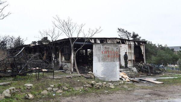 Сгоревший корпус Республиканского наркологического центра, архивное фото - Sputnik Азербайджан