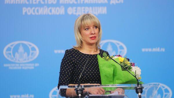 Официальный представитель министерства иностранных дел РФ Мария Захарова во время брифинга по текущим вопросам внешней политики - Sputnik Azərbaycan