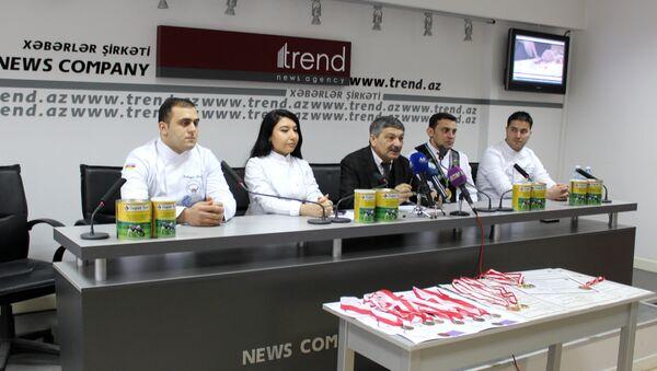 Пресс-конференция, посвященная итогам международных конкурсов кулинаров, которые прошли в Мальте и Турции - Sputnik Азербайджан