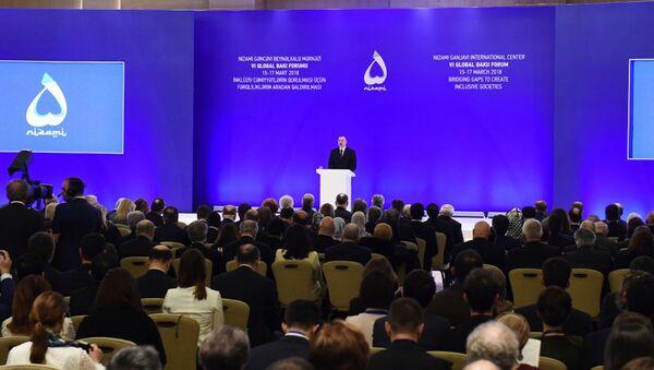 Выступление президента Имльхама Алиева на VI Глобальном бакинском форуме - Sputnik Азербайджан