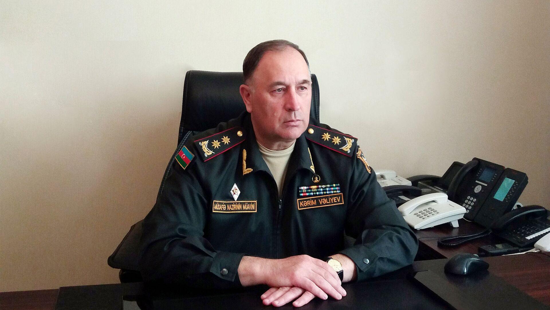Azərbaycan müdafiə nazirinin müavini general-leytenant Kərim Vəliyev  - Sputnik Азербайджан, 1920, 23.07.2021