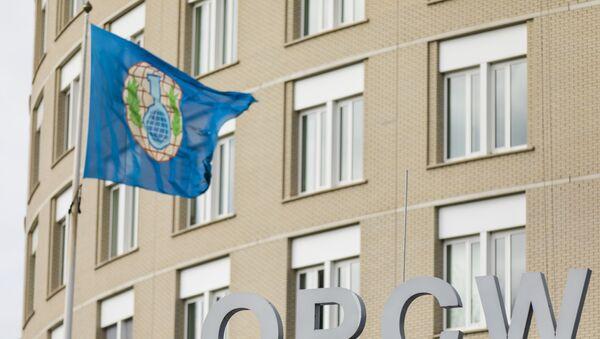 Флаг Организации по запрещению химического оружия перед штаб-квартирой ОЗХО - Sputnik Азербайджан