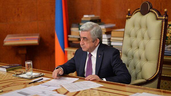Ermənistanın baş naziri Serj Sarqsyan - Sputnik Azərbaycan