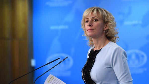 Официальный представитель министерства иностранных дел РФ Мария Захарова во время брифинга по текущим вопросам внешней политики - Sputnik Азербайджан
