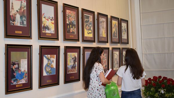 В Азербайджанском национальном музее искусств в Баку состоялось открытие персональной выставки, художника-карикатуриста Байрама Гаджизаде - Sputnik Азербайджан
