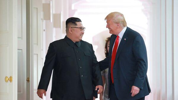 Встреча Дональда Трампа и Ким Чен Ына  - Sputnik Azərbaycan
