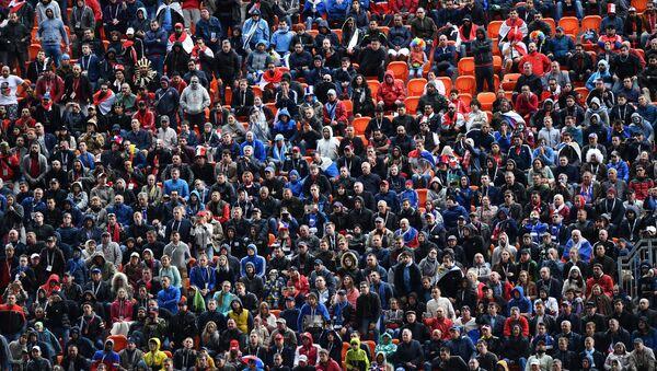 Болельщики во время матча группового этапа чемпионата мира по футболу между сборными Египта и Уругвая - Sputnik Азербайджан