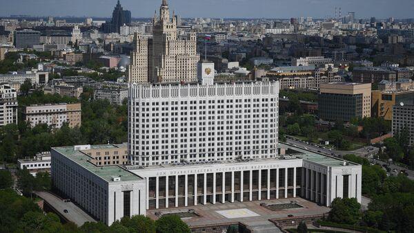 Дом Правительства РФ (на первом плане) и жилой дом на Кудринской площади в Москве. - Sputnik Азербайджан