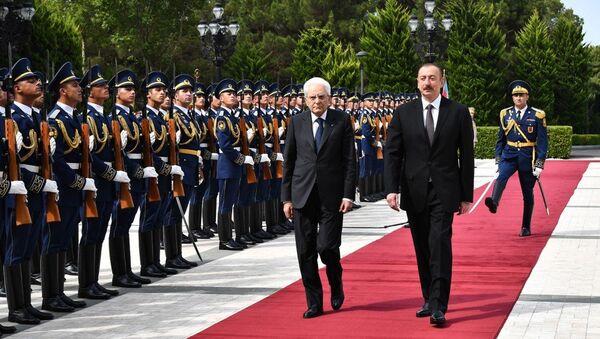 Церемония официальной встречи Президента Италии - Sputnik Азербайджан