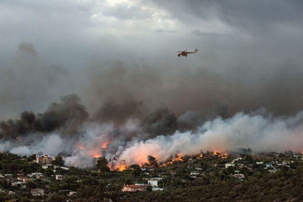 Пожарный вертолет над горящими лесами в окрестностях Афин - Sputnik Азербайджан