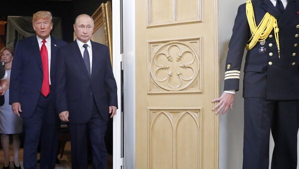 Президент России Владимир Путин и президент США Дональд Трамп - Sputnik Азербайджан