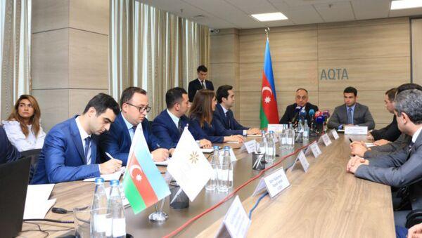 Церемония подписания меморандума между Агентством продовольственной безопасности Азербайджана и Агентством по развитию малого и среднего бизнеса. Баку, 10 августа 2018 года - Sputnik Азербайджан