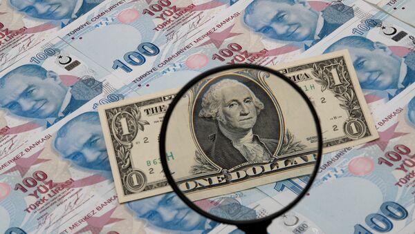 Доллар США и турецкие лиры - Sputnik Azərbaycan