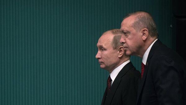 Президент РФ Владимир Путин и президент Турецкой Республики Реджеп Тайип Эрдоган, фото из архива - Sputnik Азербайджан