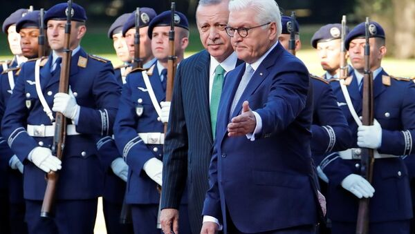 Recep Tayyip Erdoğan-Frank-Walter Steinmeier - Sputnik Azərbaycan