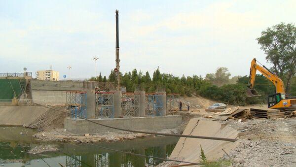 Строительство моста через реку Тертер - Sputnik Азербайджан
