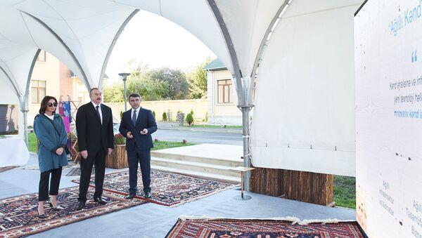 Президент Азербайджанской Республики Ильхам Алиев и первая леди Мехрибан Алиева приняли участие в открытии реконструированной Гахской станции племенного шелководства - Sputnik Азербайджан