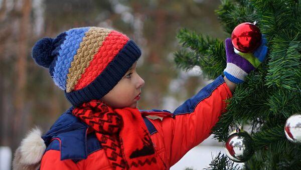 Мальчик у новогодней елки - Sputnik Азербайджан