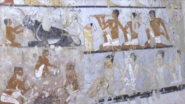 Настенные росписи внутри гробницы возле пирамид, Каир, Египет - Sputnik Азербайджан
